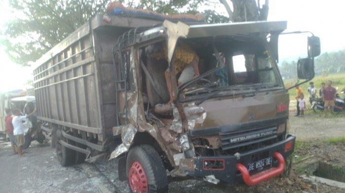 2 Truk Kecelakaan di Jalinbar Pringsewu Diamankan di Polres Pringsewu