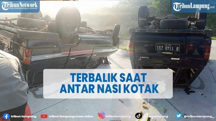 Mobil Kijang Terbalik di Tol Lampung Akibat Pecah Ban