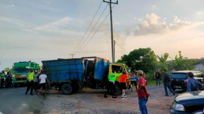 Hindari Motor, 2 Truk Kecelakaan di Jalintim Mesuji Lampung, Tak Ada Korban Jiwa