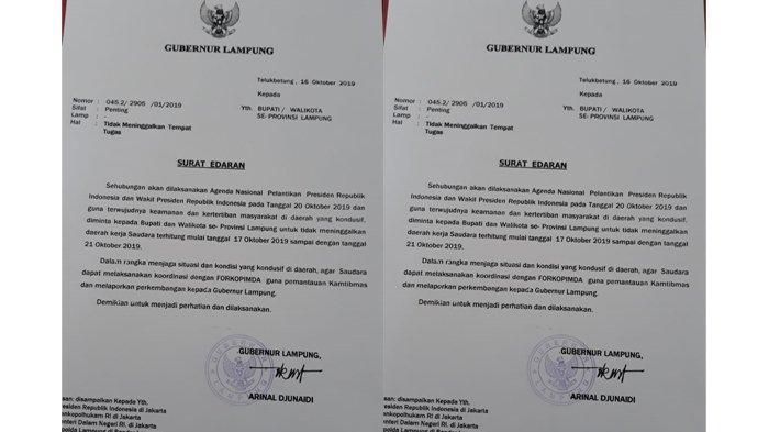 Keluarkan Edaran, Gubernur Arinal Djunaidi Larang Kada se-Lampung Tinggalkan Daerah, Ini Alasannya
