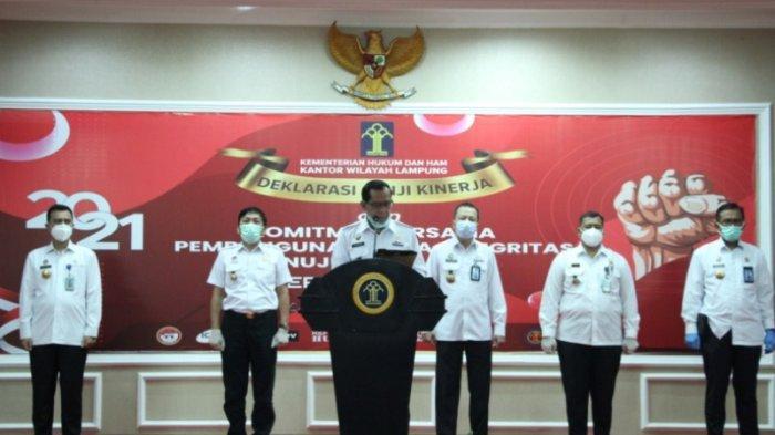 Kemenkumham Lampung dan Jajarannya Komitmen Wujudkan Zona Integritas Menuju WBK/WBBM
