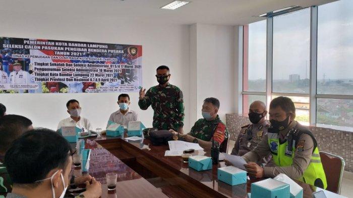 Babinsa Pelda Sarwani Hadiri Rapat Seleksi Calon Pasukan Pengibar Bendera Pusaka Tahun 2021