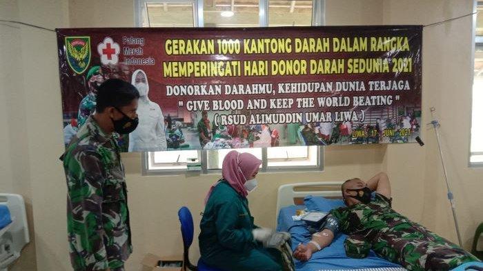 Kodim 0422/Lampung Barat Gelar Donor Darah di RSUD Alimuddin Umar