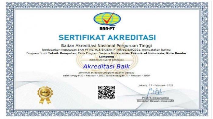 Universitas Terbaik Lampung, S1 Teknik Komputer Universitas Teknokrat Raih Predikat Baik dari BAN-PT