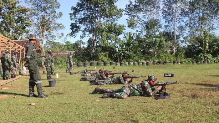 Tingkatkan Kemampuan, Anggota Kodim 0410/KBL Gelar Latihan Tembak di Kompi Senapan A