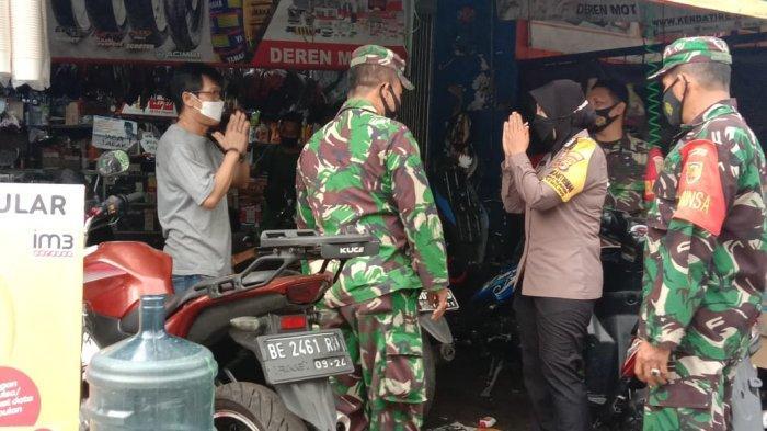 PPKM Darurat, Koramil 410-02/TBS Gencar Patroli Tempat Umum di Kecamatan Kemiling