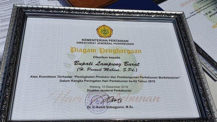 Komitmen Bangun Perkebunan Berkelanjutan, Lampung Barat Diganjar Penghargaan oleh Kementan