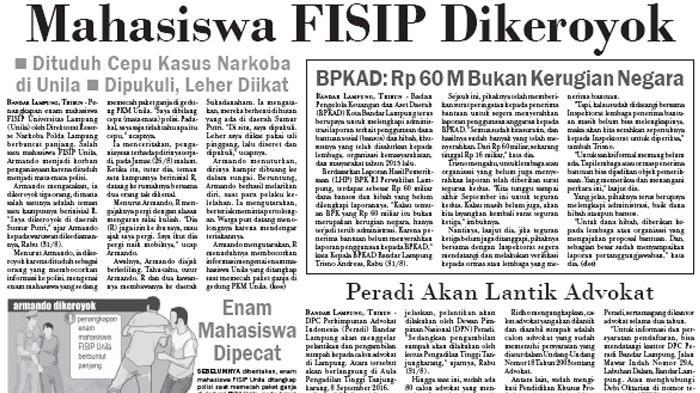 Dipukuli dengan Leher Diikat, Mahasiswa FISIP Unila Dikeroyok