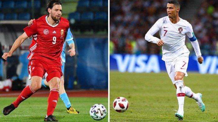 Ilustrasi penyerang Hungaria Adam Szalai (kiri) dan penyerang Portugal Cristiano Ronaldo. Simak, jadwal Euro 2020 Selasa 15 Juni 2021, antara Hungaria vs Portugal di Grup F.