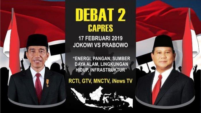 LIVE STREAMING Debat Kedua Capres 2019 Live RCTI GTV MNC TV dan iNews TV Minggu 17 Februari 2019