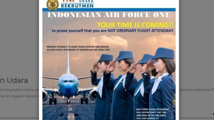 Lowongan Kerja Posisi Pramugari TNI AU di Pesawat Kepresidenan Pendaftaran Hingga 10 September 2020