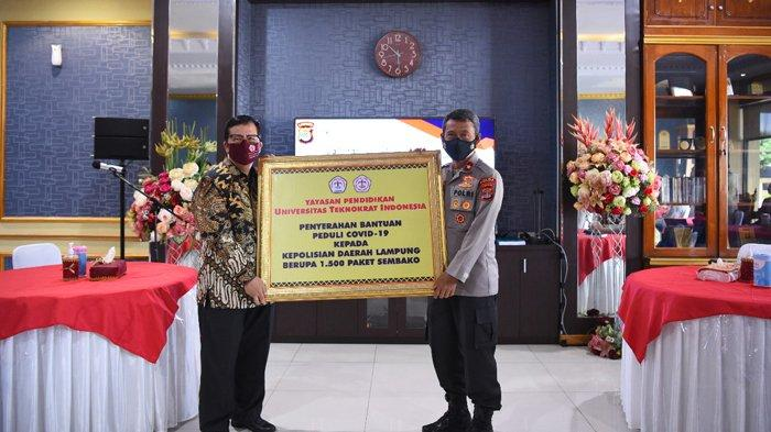 Mahasiswa Teknokrat Indonesia Serahkan Bantuan 1.500 Paket Sembako ke Polda Lampung