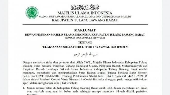 Maklumat MUI Tulangbawang Barat, Salat Id Bisa Dilaksanakan di Masjid dengan Beberapa Ketentuan