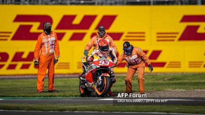 MotoGP 2021 Aragon, Marc Marquez Marah Usai Alami Kecelakaan di FP2