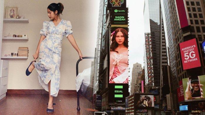 Penyanyi Nadin Amizah Bangga Wajahnya Terpampang di Times Square New York