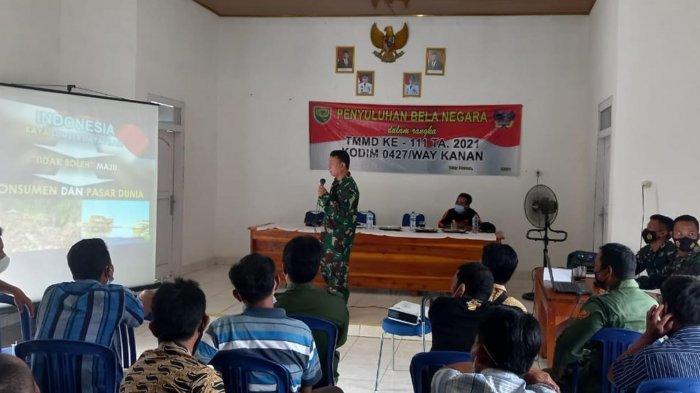 Pasiter Satgas TMMD ke-111 Way Kanan Lampung Gelar Penyuluhan Bela Negara
