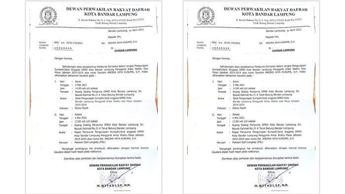 Pelantikan PAW Andika Jaya Kusuma Gantikan Pandu Kesuma Digelar Selasa, 4 April 2021