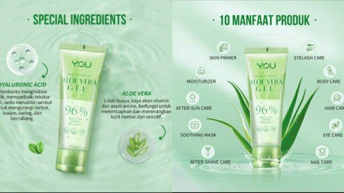 Ilustrasi keunggulan YOU Multi Purpose Aloe Vera 96%.
