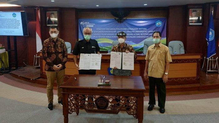 Penandatanganan Perjanjian Kerja Sama BPJS Ketenagakerjaan dan Universitas Lampung