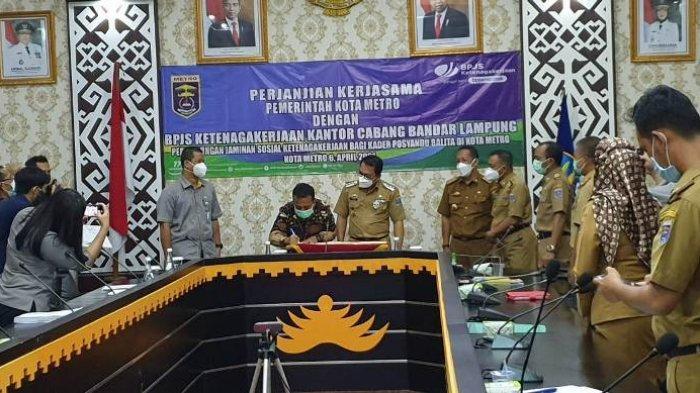 Penandatanganan Perjanjian Kerjasama antara Pemkot Metro dengan BPJS Ketenagakerjaan Bandar Lampung
