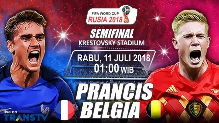 LIVE STREAMING Semifinal Piala Dunia 2018: Perancis vs Belgia di TransTV. Kick Off Jam 01.00 WIB
