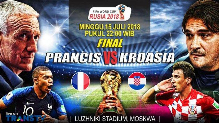 Live Perancis Vs Kroasia Final Piala Dunia 2018 - Tonton Live Streaming Lewat Cara GRATIS Ini