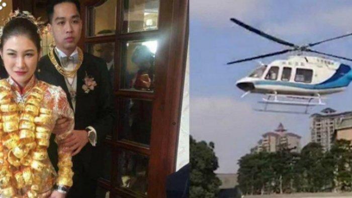 Viral Pernikahan Bertabur Perhiasan Emas, Mempelai Perempuan Dijemput dengan Helikopter
