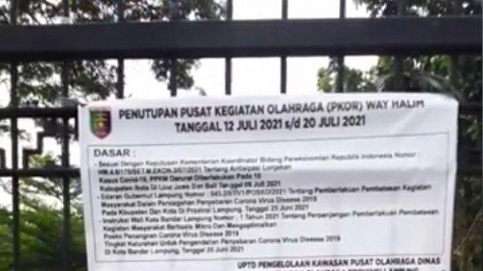 PPKM Darurat di Bandar Lampung, PKOR Way Halim Ditutup