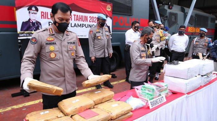 Sepanjang 2020, Polda Lampung Sita 201 Kg Sabu dan 467 Kg Ganja