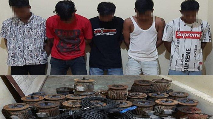 Polisi Gulung Lima Tersangka Curat di Dente Teladas Tulangbawang