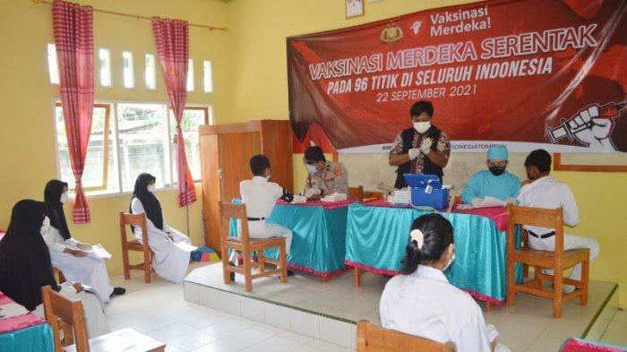Polres Tulangbawang Lampung Gelar Vaksinasi Merdeka dengan Sasaran Utama Pelajar