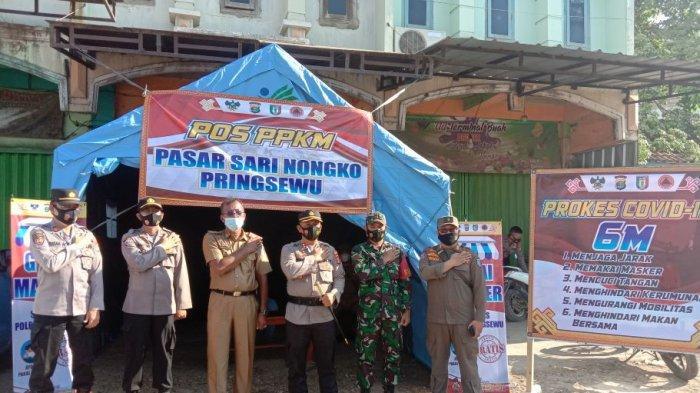 Satgas Dirikan Pos PPKM di Pasar Sarinongko Pringsewu Lampung