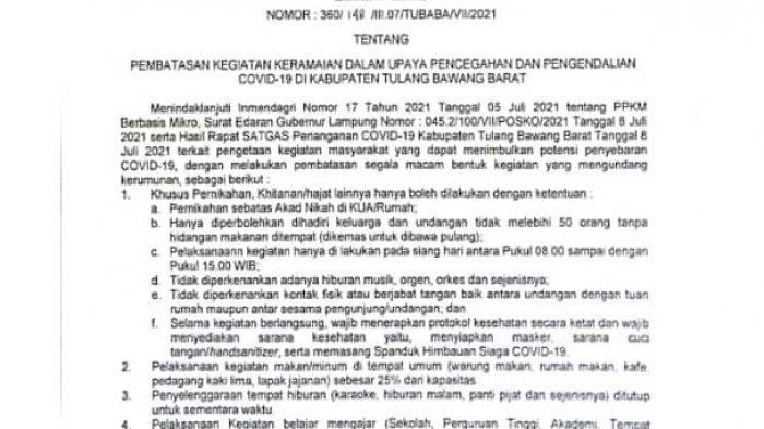 PPKM di Tulangbawang Barat Lampung, Satgas Batasi Kegiatan Masyarakat