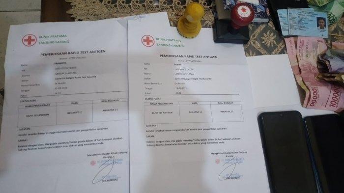 Praktik Antigen Palsu di Bandar Lampung, Ditawarkan Rp 50-100 Ribu Kepada Penumpang Travel