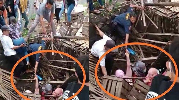 Puluhan Emak-emak Lagi Asyik Makan Siang di Atas Sungai, Tetiba Lantai Bambu Warung Makan Ambrol!