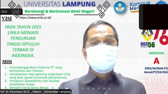 Rektor Universitas Lampung Prof Karomani Buka Kuliah Tamu FISIP secara Virtual