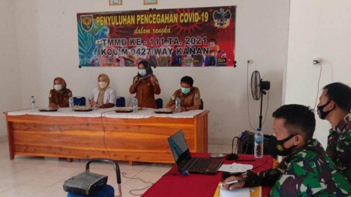 Satgas TMMD ke-111 Beri Penyuluhan Pencegahan Covid-19 di Way Kanan Lampung
