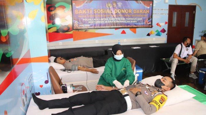 Satlantas Polres Sumbang 66 Kantung Darah ke UTD RSUD Pringsewu Lampung