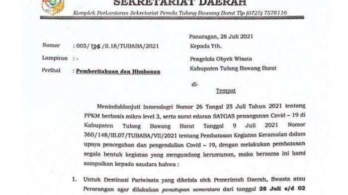 Seluruh Tempat Wisata di Tulangbawang Barat Lampung Ditutup hingga 2 Agustus 2021