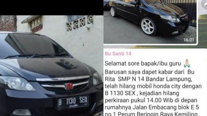 Sempat Viral di WhatsApp Grup, Mobil Warga Kemiling Hilang Bukan Karena Pencurian
