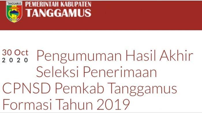 Semua Formasi CPNS 2019 di Tanggamus Terisi