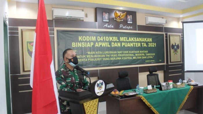 Mayor Inf Andri Kusuma Buka Kegiatan Insiap Apwil dan Puan ter TW II Th 2021 di Aula Palapa Kodim