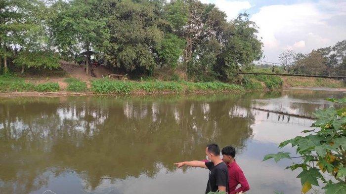 Lokasi Raihan tenggelam di Sungai Way Sekampung, Pekon Sukoharjo IV, Kecamatan Sukoharjo, Kabupaten Pringsewu, Minggu (5/9/2021) sore.