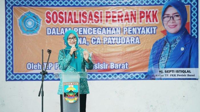 Ketua TP.PKK Hj. Septi Istiqlal Pimpin Sosialisasi Peran PKK dalam Pencegahan TB, NA, CA Payudara