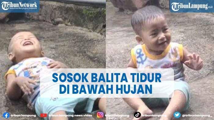 Viral Bayi Tiduran di Bawah Guyuran Hujan Deras