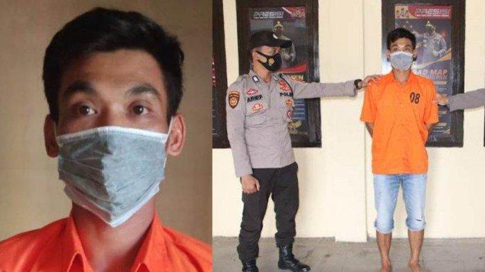 Tersangka suami aniaya istri hamil 9 bulan di Pringsewu, Lampung.