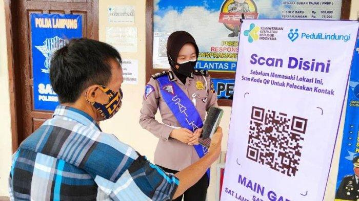 Tamu Masuk Mapolres Mesuji Lampung Wajib Gunakan Aplikasi PeduliLindungi