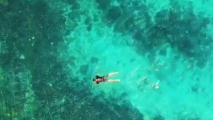 Aktivitas snorkling di pantai Tegal Mas Lampung dilihat dari atas.