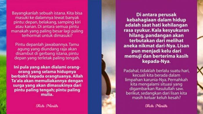 Ilustrasi nasihat Teh Ninih. Teh Ninih beri nasihat penyejuk di tengah kisruh rumah tangganya dengan Aa Gym
