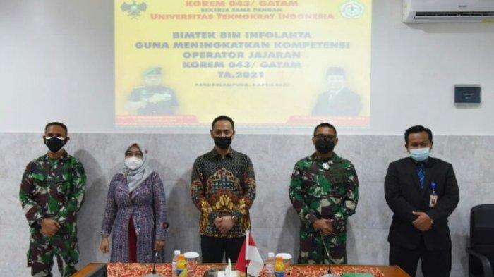 jajaran pimpinan Universitas Teknokrat Indonesia dan Korem Garuda Hitam.